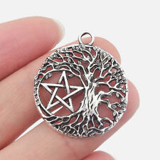 10Pcs Antique Silver Round Open Life Trees Star of David Charms Jewelry Findings