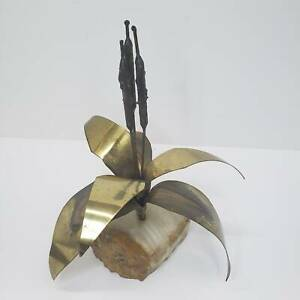Mid Century Modern Curtis Jere Era Signed Metal Art Brass Cattails Marble Base