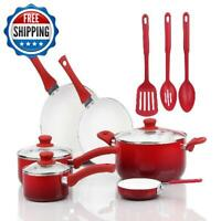 Ceramic Nonstick Cookware Set 12-Piece Aluminum Pots Pans Oven Kitchen Home Red