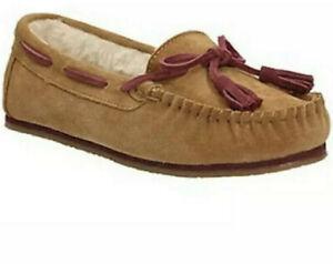 Ladies Clarks ESKIMO KIKI Ladies Sand Suede Moccasin Slippers Size Uk 8 D EU 42