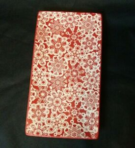 NWOT Hallmark Red and White Snow Flakes Holiday Rectangular Candy Dish