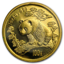 1997 China 1 oz Gold Panda Small Date BU (Sealed) - SKU #58980