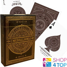 MEDALLIONS THEORY 11 PLAYING CARDS DECK BROWN GOLD MAGIC TRICKS SEALED USA NEW