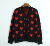 Womens Chic Preppy Style V-Neck Heart Shaped Knitted Sweater Cardigan Coat SKGB