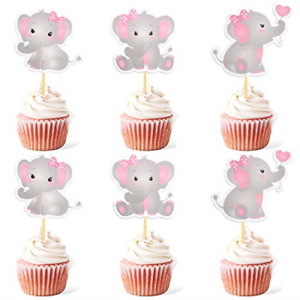 48pcs Pink Elephant Cupcake Toppers It Is A Girl Baby Shower Cupcake Picks Baby
