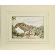 Senza cornice originale Devon Acquerello pittura Albert Cooper Barnstaple Cottages