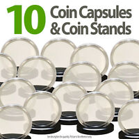10 Coin Capsules & 10 Coin Stands for JFK HALF DOLLAR Direct Fit Airtight 30.6mm