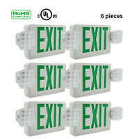 1/2/4/6Pack Green LED Exit Sign Emergency Light Square Head Combo UL924 COMBOR
