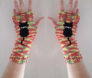 Hand knitted black cat fingerless gloves bright wrist warmers