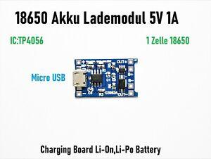 Akku Lademodul 5V 1A TP4056 Micro USB 18650 Li-Ion Laderegler Charger Lipo BMS 1