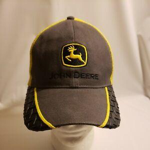 John Deere Trucker Hat Cap Black Gray Yellow LP48836 OSFA Snap Back Farm Ranch