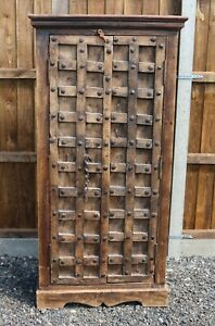 Rustic Steampunk Antique Indian Ammunition Wooden Cabinet - Free Delivery
