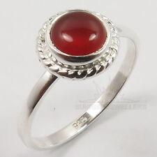 Natural CARNELIAN Gemstone 925 Sterling Silver Love Gift Tiny Ring Choose Size