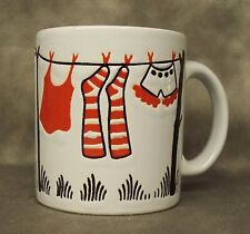 Waechtersbach Coffee Mug Cup White & Clothing Drying Red & White Germany