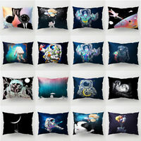 LN_ Space Astronaut Throw Pillow Case Cushion Cover Rectangle Sofa Office Deco