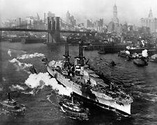 New 11x14 Navy Photo: USS ARIZONA on East River in New York City, Christmas 1916