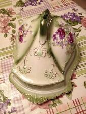 Stoke On Trent England Victorian Green & Purple Flower Cheese Dish Tray Platter