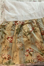 Waverly Amelia Antique Floral Stripe Bed Skirt Yellow Blue Green Queen