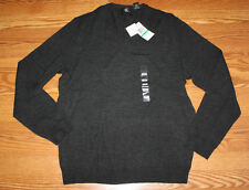 NWT Mens CALVIN KLEIN Stovepipe Gray Light Weight Merino Wool V-Neck Sweater XL