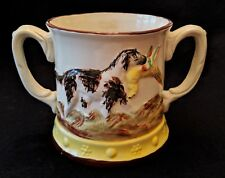 Lg. Antique Staffordshire Double Handle Ague Surprise Frog Beer Mug Hunting Dogs