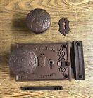 Antique Fancy Coppery BLW Rim Lock Pat 1863, Cast Iron Doorknobs by Nimick c1875