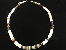 Vintage Necklace With Black, Brown, Tan and White Beads