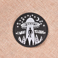 Embroidery flying saucer UFO iron on patch badge hat jeans fabric applique HC