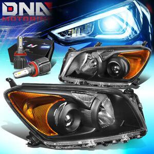 FOR 2009-2012 TOYOTA RAV4 PROJECTOR HEADLIGHT W/LED KIT+COOL FAN BLACK/AMBER