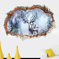 3D Sika Deer Forest Room Home Decor Removable Wall Stickers Decals Decoration