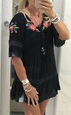 Jessie Lee Dress Black EMBROIDERED Hippy Boho Vintage Peasant VGC