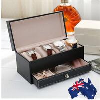 Dual Laye Watch Box Valet Drawer for Men 4 Slot Luxury Case Display Carbon Fiber