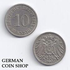 10 Pfennig 1890 1891 1892 1893 1896 1897 1898 1899 1900 1901 1902 A D E F G J