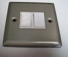 Volex Lightswitch Double 2 Way 10ax Twin Light Switch - White Inserts