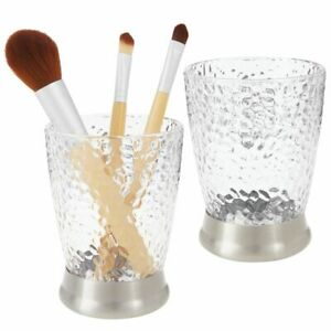 mDesign Tumbler Cup for Bathroom Vanity Countertops, 2 Pack - Clear/Brushed