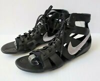 Nike Womens Leather Gladiator Gladiateur Mid Sandals Black Silver Size 11