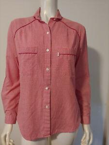 Vintage Levi's Red White Plaid Gingham Shirt 14 10 12 LS Big E Horse Label