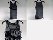 NEW Urban Outfitters Kaleidoscope Stripe Lace ruffles Tank Top XS black grey