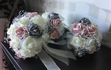 WEDDING FLOWERS BRIDES IVORY/P.PINK/SILVER GREY BRIDAL BOUQUET/B.HOLES PACKAGE