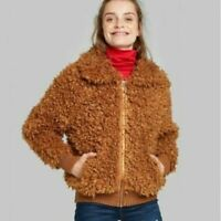 Wild Fable Women's Cognac Brown Zip Up Sherpa Jacket Coat Heavyweight