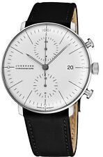 Junghans Men's MaxBill Chronoscope Leather Strap Self-Winding Watch 027/4600.00
