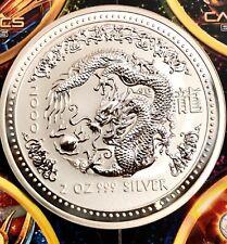 2000 Lunar Series I Australian Year Of The Dragon  2 oz .999 Fine Silver Coin