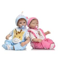 17'' Reborn Twin Silicone Dolls Boy Girls Vinyl Baby Doll Newborn Sleep Dolls