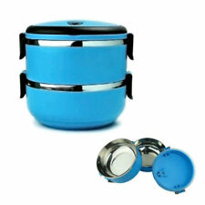 STAINLESS STEEL INSULATED 2 TIER BENTO LUNCH BOX Vacuum Seal Blue Plastic Tiffin