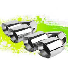 """2PCS POLISHED STAINLESS STEEL DUAL ROLLED EXIT EXHAUST MUFFLER TIPS 2.5""""ID 4""""OD"""