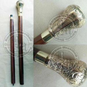 Antique Brass Designer Handle Wooden Walking Cane Stick Vintage Victorian