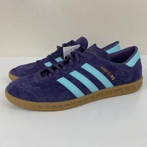 New Adidas Hamburg Tech Purple Aqua Shoes Trainers Men's Size 9.5 FV1204