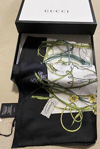 New $495 Gucci Women Flora Stage Silk shawl Scarf Black/White Italy