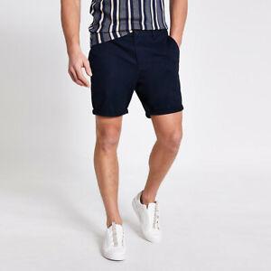 River Island Mens Navy Dylan Slim Fit Shorts
