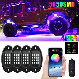 4/6/8 RGB LED Rock Lights Remote Multicolor Undercarriage Neon Light Waterproof