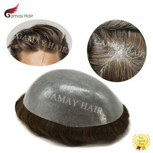Full Poly Mens Toupee All Skin Pu Hair Replacement System for Men Hand Tied Wig